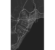 Malaga, Spain Map. (White on black) Photographic Print