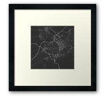 Murcia, Spain Map. (White on black) Framed Print