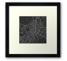 Madrid, Spain Map. (White on black) Framed Print
