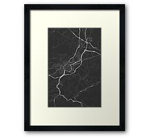 Oviedo, Spain Map. (White on black) Framed Print