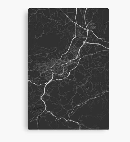 Oviedo, Spain Map. (White on black) Canvas Print