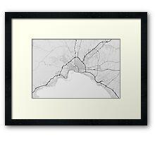 Palma, Spain Map. (Black on white) Framed Print