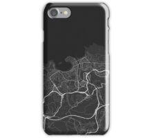 San Sebastian, Spain Map. (White on black) iPhone Case/Skin