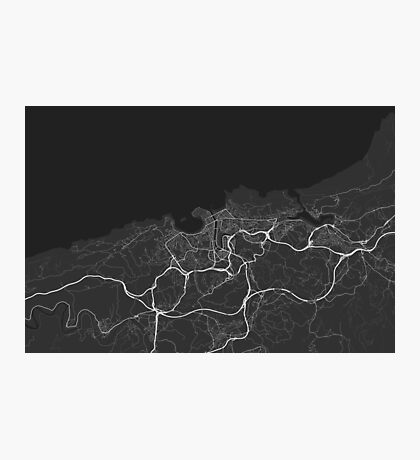 San Sebastian, Spain Map. (White on black) Photographic Print