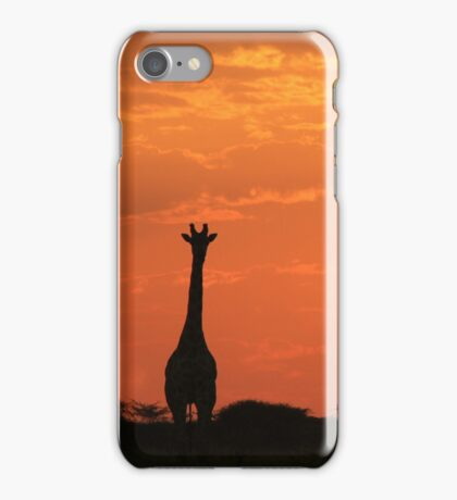Giraffe - Sunset Gold - African Wildlife and Nature Background iPhone Case/Skin
