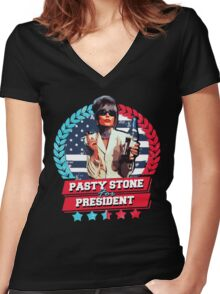 pasty stone for president Women's Fitted V-Neck T-Shirt
