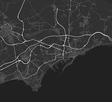 Tarragona, Spain Map. (White on black) by Graphical-Maps