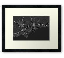 Tarragona, Spain Map. (White on black) Framed Print