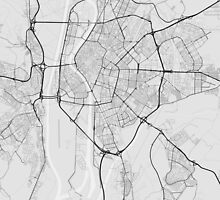 Seville, Spain Map. (Black on white) by Graphical-Maps