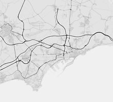Tarragona, Spain Map. (Black on white) by Graphical-Maps