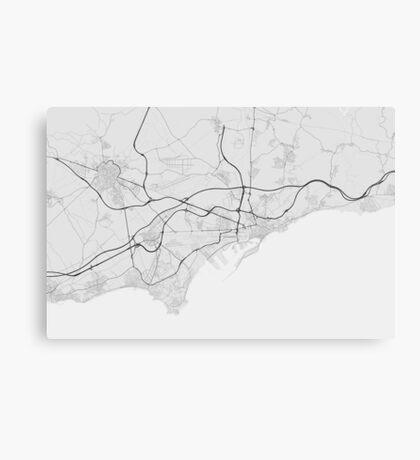 Tarragona, Spain Map. (Black on white) Canvas Print