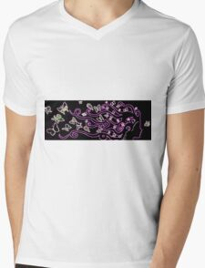 enlighted female silhouette with pink butterflies Mens V-Neck T-Shirt