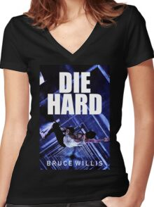 DIE HARD 8 Women's Fitted V-Neck T-Shirt