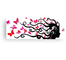 female black silhouette with pink butterflies Canvas Print