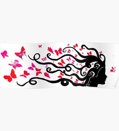 female black silhouette with pink butterflies Poster