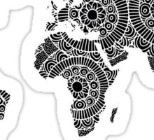 White on Black World Map Sticker