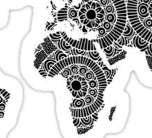 White on Black World Map Sticker