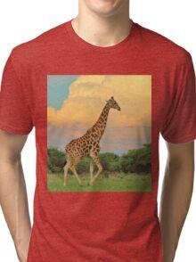 Giraffe - African Wildlife - The Rain is Coming Tri-blend T-Shirt