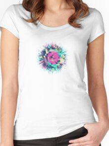 Fruity Rose - Fancy Colorful Abstraction Pattern Design (green pink blue) Women's Fitted Scoop T-Shirt