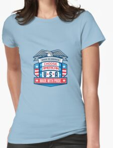 Made In America Patriotic Shield Retro Womens Fitted T-Shirt