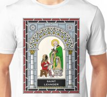 ST LEANDER OF SEVILLE under STAINED GLASS Unisex T-Shirt