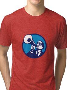 Nerd Shouting Megaphone Circle Retro Tri-blend T-Shirt