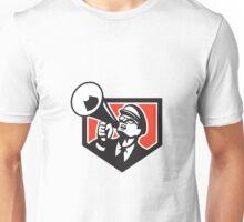 Nerd Shouting Megaphone Shield Retro Unisex T-Shirt
