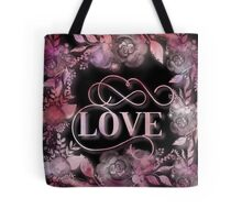 Love,water color,hand painted,typography and floral design,pink,purple,on black background, Tote Bag