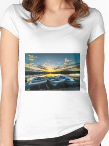 Boats and Sunrises Women's Fitted Scoop T-Shirt