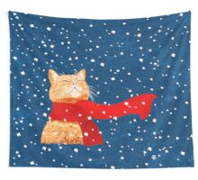 Happy Snow-Cat Wall Tapestry