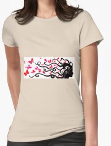 female black silhouette with pink butterflies Womens Fitted T-Shirt