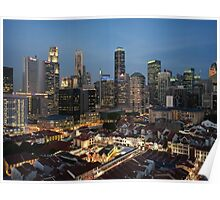 Singapore Skyline At Twilight Poster