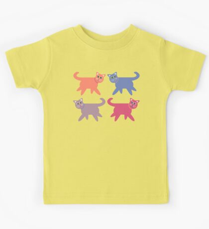 4 Colorful Cats Kids Tee