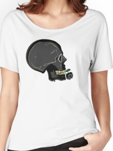 Skull with Black Rose Women's Relaxed Fit T-Shirt