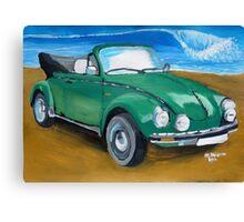 Green VW bug at beach  Canvas Print