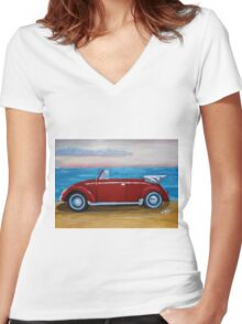 red VW bug with sea Women's Fitted V-Neck T-Shirt
