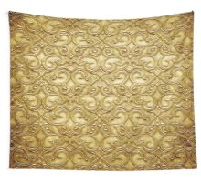 gold,antiqued,floral,wavy,swirl,pattern,vintage,beautiful,old, Wall Tapestry