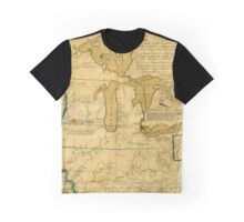 Map Of Great Lakes 1785 Graphic T-Shirt