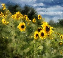 Sunflowers Bowing And Waving by Lois  Bryan