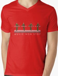 PIXEL8 | Music Non Stop | Green Mens V-Neck T-Shirt