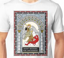 ST MICHAEL THE ARCHANGEL under STAINED GLASS Unisex T-Shirt