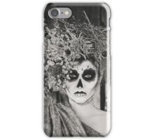 Santa Muerte halloween costume. Witch woman and black cat witch death make-up. iPhone Case/Skin