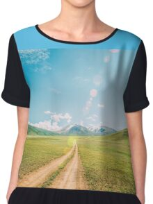 Beautiful sunset and road into the mountains. Mongolian landscape. Chiffon Top