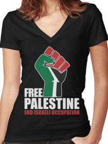Free Palestine end Israeli Occupation Women's Fitted V-Neck T-Shirt