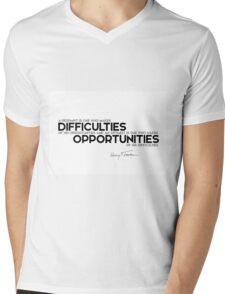 pessimist, optimism, difficulties, opportunities - harry s. truman Mens V-Neck T-Shirt