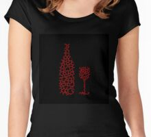 Bottle and glass with hearts  Women's Fitted Scoop T-Shirt