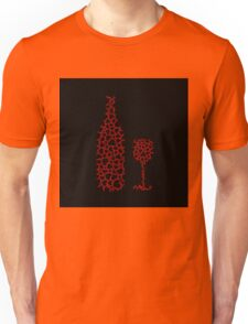 Bottle and glass with hearts  Unisex T-Shirt