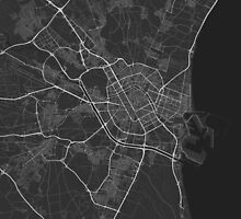 Valencia, Spain Map. (White on black) by Graphical-Maps