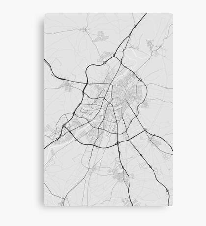 Valladoid, Spain Map. (Black on white) Canvas Print