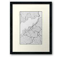 Vigo, Spain Map. (Black on white) Framed Print